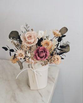 情人節 花禮 永生花 桌花 盆栽 001- 白色花藝 whiteflower