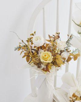 Spring黃玫瑰永生花盆栽課程|whiteflower