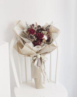 紅玫瑰永生乾燥花束Brown|White flower