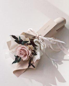 單支褐粉永生乾燥花束|White flower