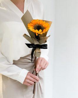 單支乾燥向日葵花束-木質|White flower