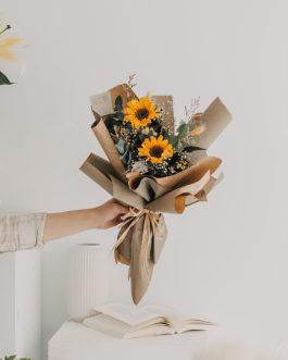 乾燥向日葵花束-木質|White flower
