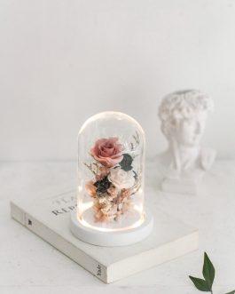 永生花玻璃盅夜燈 |White flower