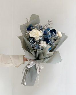 乾燥花束-藍(M)|White flower