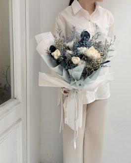 乾燥花束-藍(L)|White flower