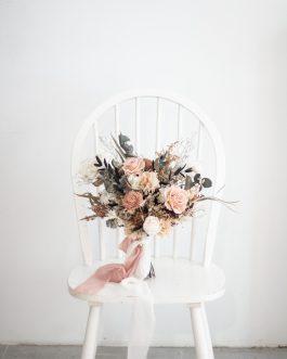 霧粉永生乾燥捧花|White flower
