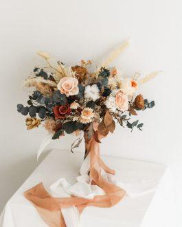 秋褐永生乾燥捧花|White flower